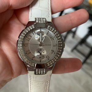 White guess watch with rhinestones